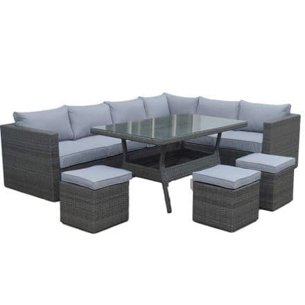 Cotswold Rattan Grey Large Corner Sofa Rattan Garden Dining Set - Right