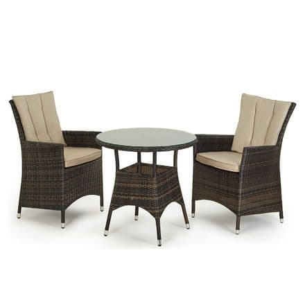 Maze Rattan 2 Seat LA Bistro Garden Furniture Set - Brown