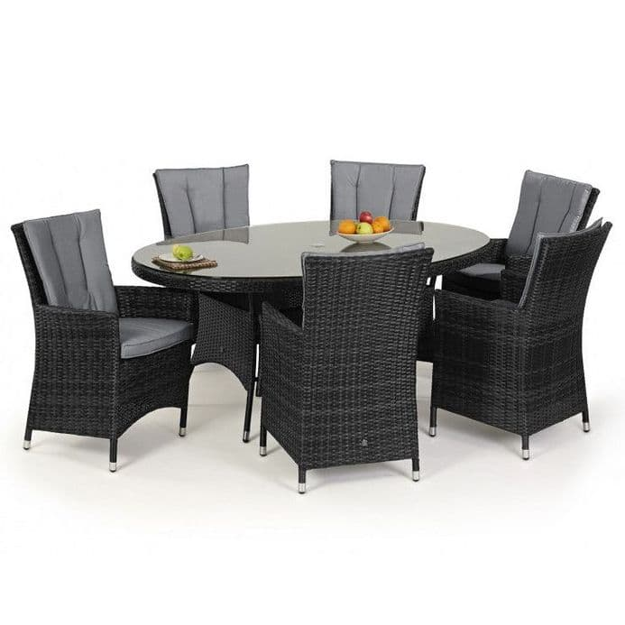 Maze Rattan 6 Seat LA Oval Dining Garden Furniture Set - Grey