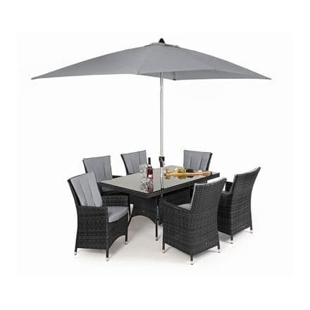 Maze Rattan 6 Seat LA Rectangle Dining Garden Furniture Set - Grey