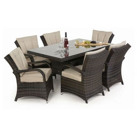Maze Rattan 6 Seat Texas Rectangular Dining Garden Furniture Set - Brown