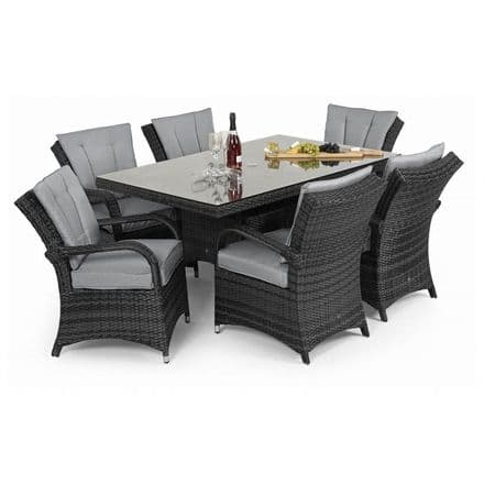 Maze Rattan 6 Seat Texas Rectangular Dining Garden Furniture Set - Grey