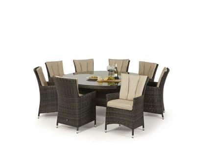 Maze Rattan 8 Seat LA Round Dining Garden Furniture Set - Brown