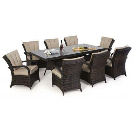 Maze Rattan 8 Seat Texas Rectangular Dining Garden Furniture Set - Brown