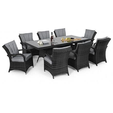 Maze Rattan 8 Seat Texas Rectangular Dining Garden Furniture Set - Grey