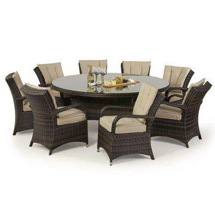 Maze Rattan 8 Seat Texas Round Dining Garden Furniture Set - Brown