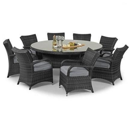 Maze Rattan 8 Seat Texas Round Dining Garden Furniture Set - Grey