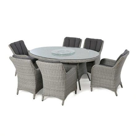 Maze Rattan Ascot 6 Seat Oval  Dining Set - Grey