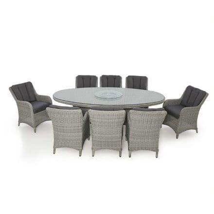 Maze Rattan Ascot 8 Seat Oval  Dining Set - Grey