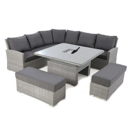 Maze Rattan Ascot Deluxe  Corner Dining Set with Rising Table & Ice Bucket - Grey