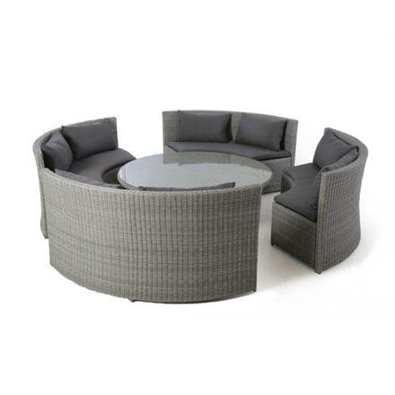 Maze Rattan Ascot Round Sofa Dining Set - Grey