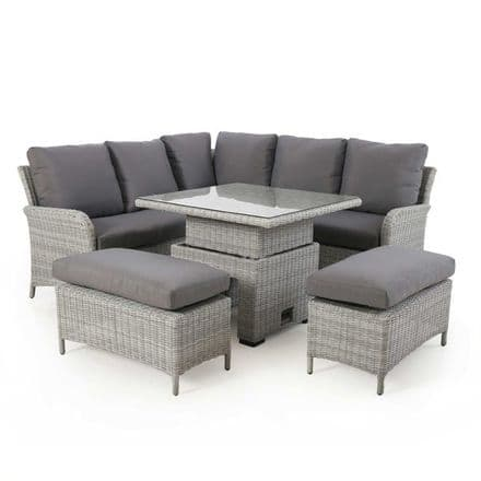 Maze Rattan Ascot Square Corner Dining Set with Rising Table - Grey