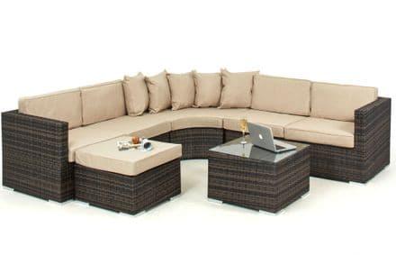 Maze Rattan Barcelona Corner Sofa Garden Furniture Set - Brown