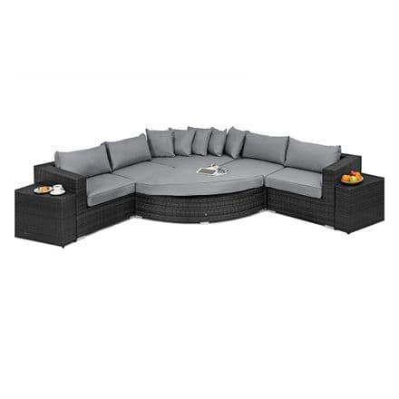 Maze Rattan Barcelona Deluxe Corner Sofa Garden Furniture Set - Grey