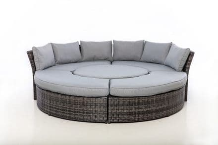 Maze Rattan Chelsea lifestyle Suite with Rising  Table with Glass Top - Grey