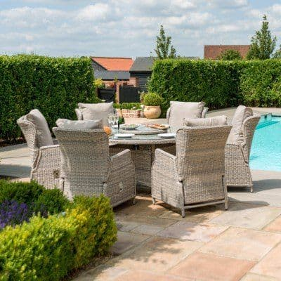 Maze Rattan Cotswold Reclining  6 Seat Round Dining Set  with With  Lazy Susan  - Grey/Taupe