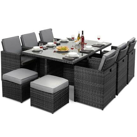 Maze Rattan Cube 7 Piece Garden Furniture Set with Footstools in Grey