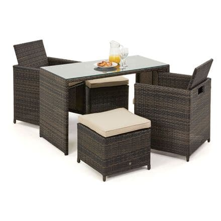 Maze Rattan Cube Balcony Set in Brown