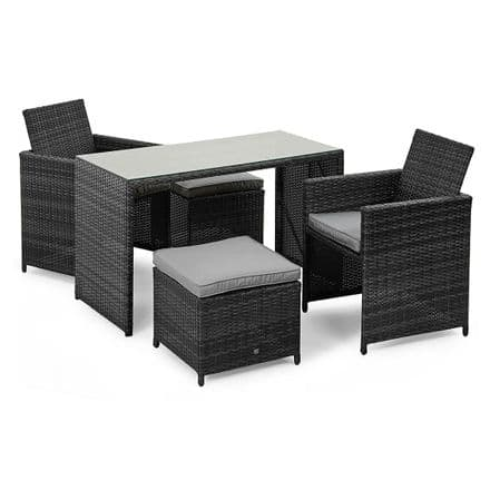 Maze Rattan Cube Balcony Set in Grey