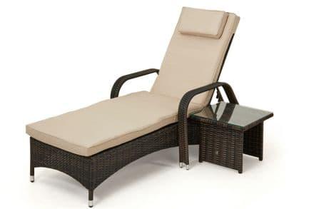 Maze Rattan Florida Sunbed with Side Table Garden Furniture Set - Brown