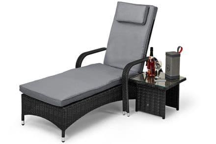 Maze Rattan Florida Sunbed with Side Table Garden Furniture Set - Grey