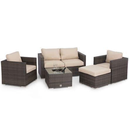 Maze Rattan Georgia 2 Seat Sofa Set with Ice Bucket / Brown