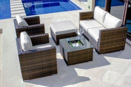 Maze Rattan Georgia 5 Piece Sofa Garden Furniture Set - Brown (Ice Bucket Table)