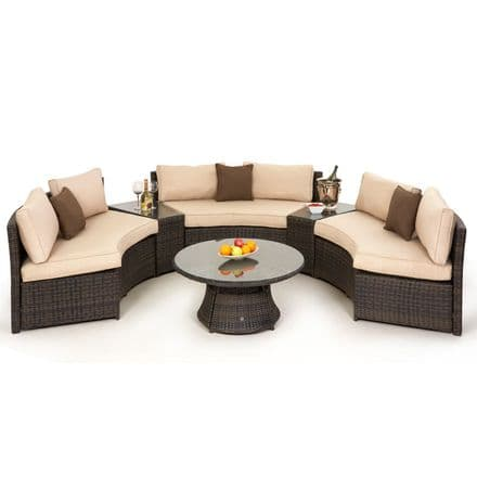 Maze Rattan Half Moon Sofa Garden Furniture Set - Brown