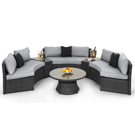 Maze Rattan Half Moon Sofa Garden Furniture Set - Grey