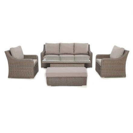 Maze Rattan Harrogate  3 Seat Sofa Dining Set With Rising Table - Brown