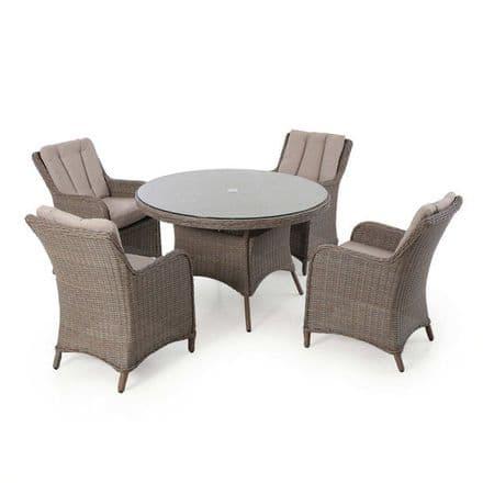 Maze Rattan Harrogate  4 Seat Round Dining Set - Brown