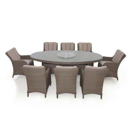Maze Rattan Harrogate  8 Seat Oval Dining Set - Brown
