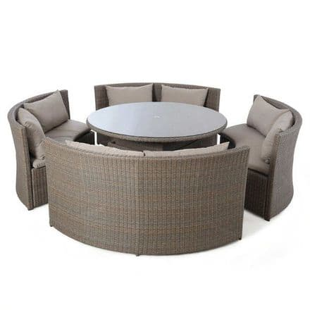 Maze Rattan Harrogate Round Sofa  Dining Set With Rising Table - Brown