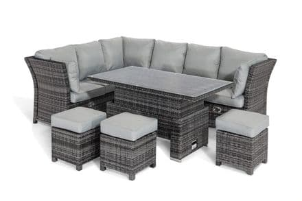 Maze Rattan Henley Corner Dining  Set with rising Table - Grey