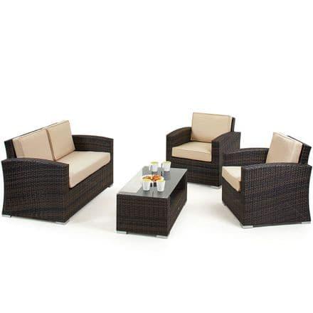 Maze Rattan Kingston 4 Piece - 2 Seater Sofa Garden Furniture Set - Brown