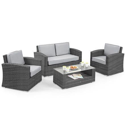 Maze Rattan Kingston 4 Seater Sofa Garden Furniture Set - Grey