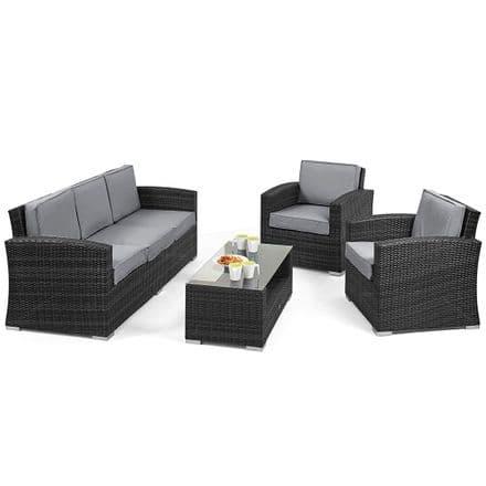Maze Rattan Kingston 5 Peice - 3 Seat Sofa Garden Furniture Set - Grey