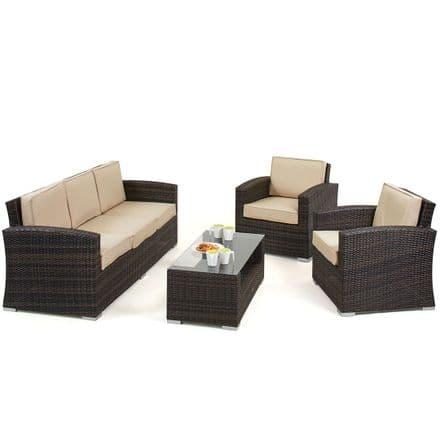 Maze Rattan Kingston 5 Seater Sofa Garden Furniture Set - Brown