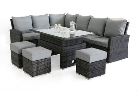 Maze Rattan - Kingston Rattan Corner Sofa Dining Set with Rising Table - Grey