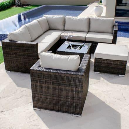 Maze Rattan London Corner Sofa & Chair with Luxury Ice Bucket Coffee Table in Brown