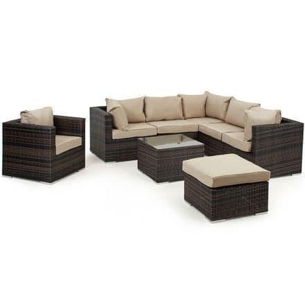 Maze Rattan London Corner Sofa with Armchair Garden Furniture Set - Brown