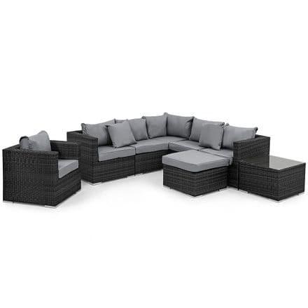 Maze Rattan London Corner Sofa with Armchair Garden Furniture Set - Grey