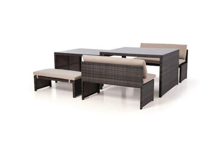 Maze Rattan - Lyon Rattan Garden Sofa Dining Set - Brown