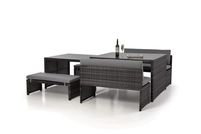 Maze Rattan - Lyon Rattan Garden Sofa Dining Set - Grey