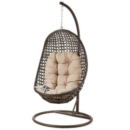 Maze Rattan Malibu Hanging Chair in Brown