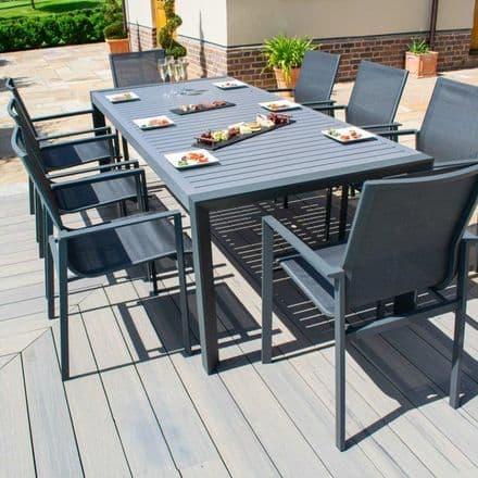 Maze Rattan New York  8 Seat Dining  Set  - Grey