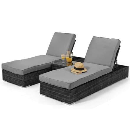 Maze Rattan Orlando Sun Lounger Garden Furniture Set - Grey