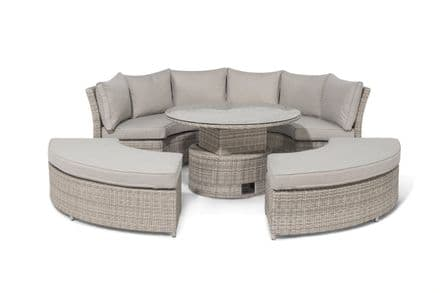 Maze Rattan Oxford lifestyle Suite with Rising Table Glass Top - Light Grey