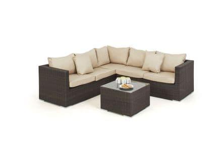 Maze Rattan Porto Corner Sofa Garden Furniture Set - Brown