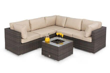 Maze Rattan Porto Corner Sofa Garden Furniture Set with Ice Bucket Table - Brown